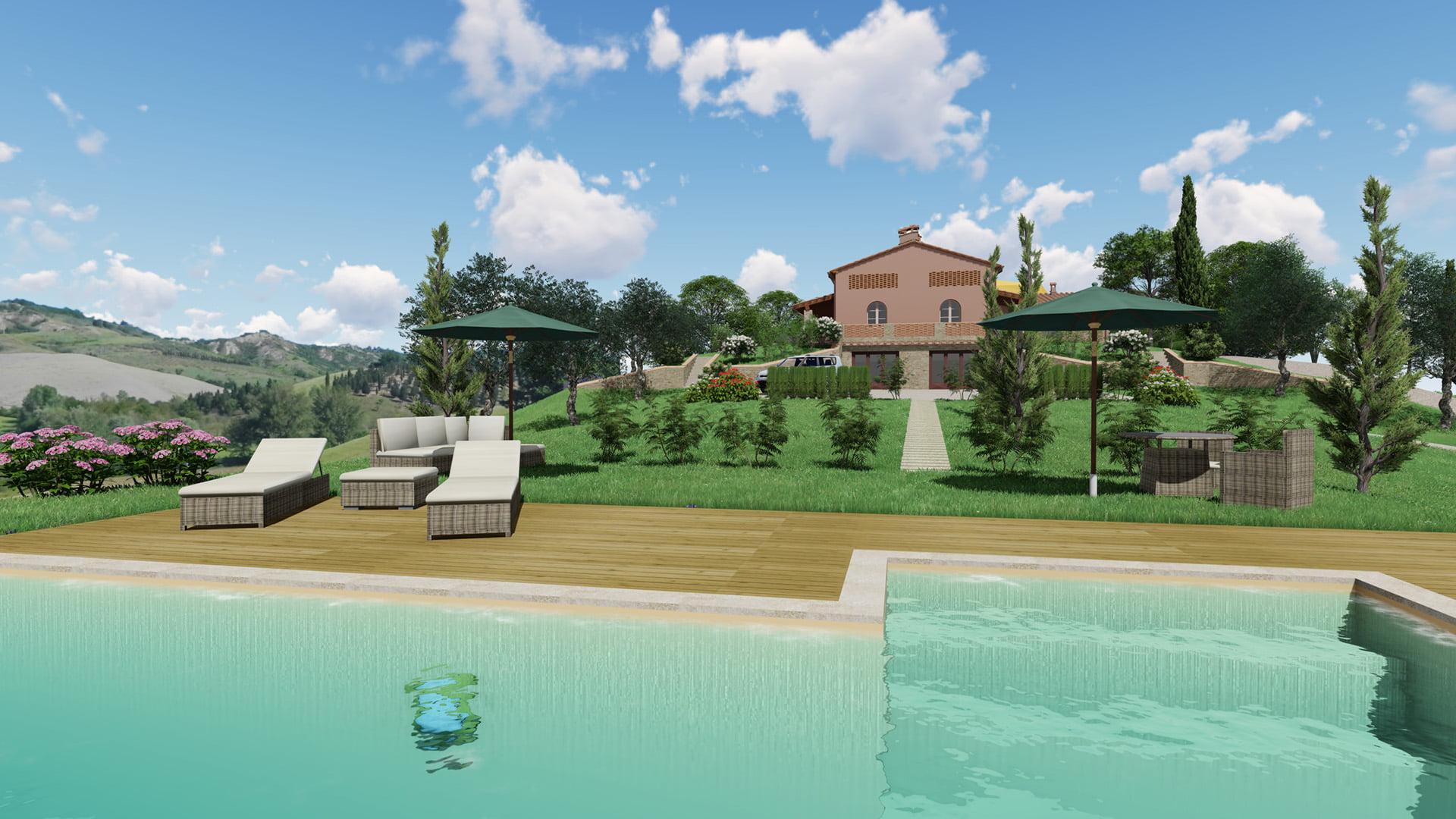 Rendering Villa in vendita con piscina a Certaldo