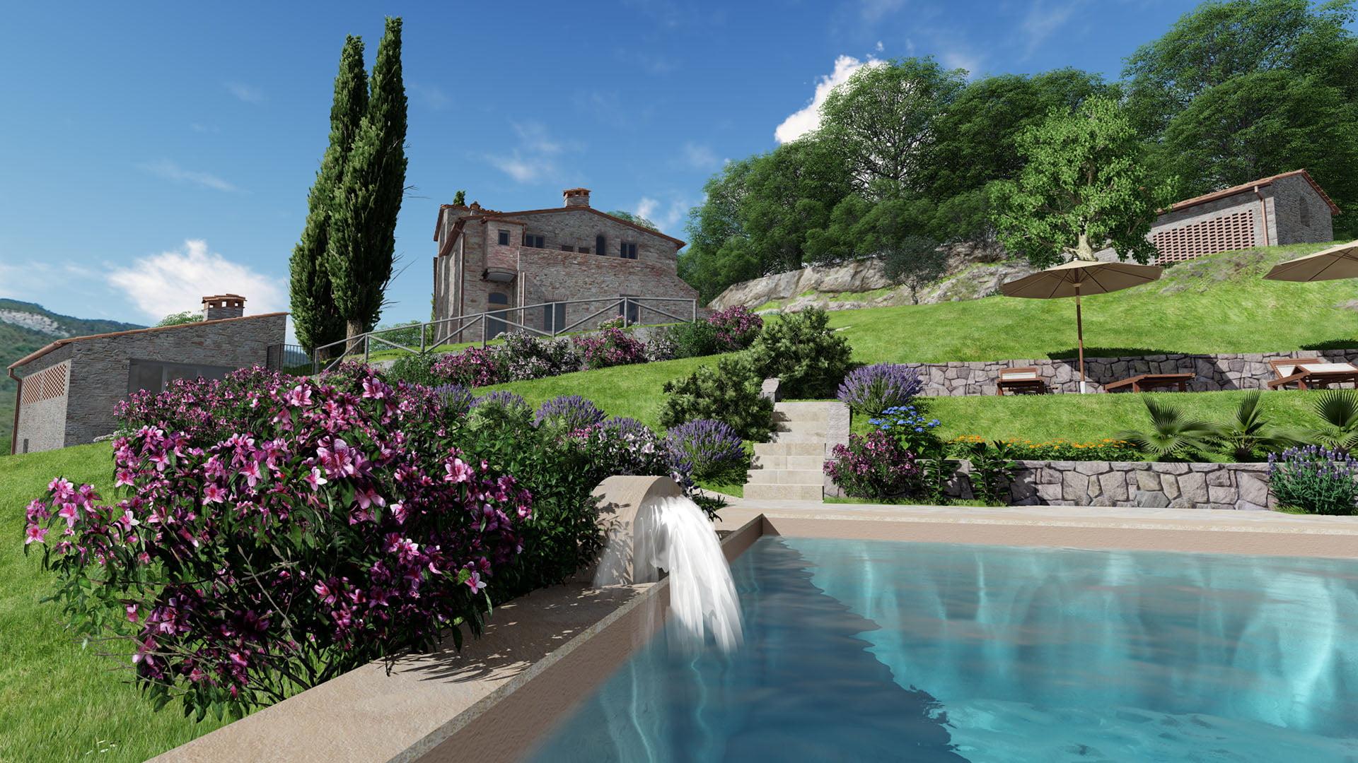Rendering Casale con piscina in vendita a Mommialla