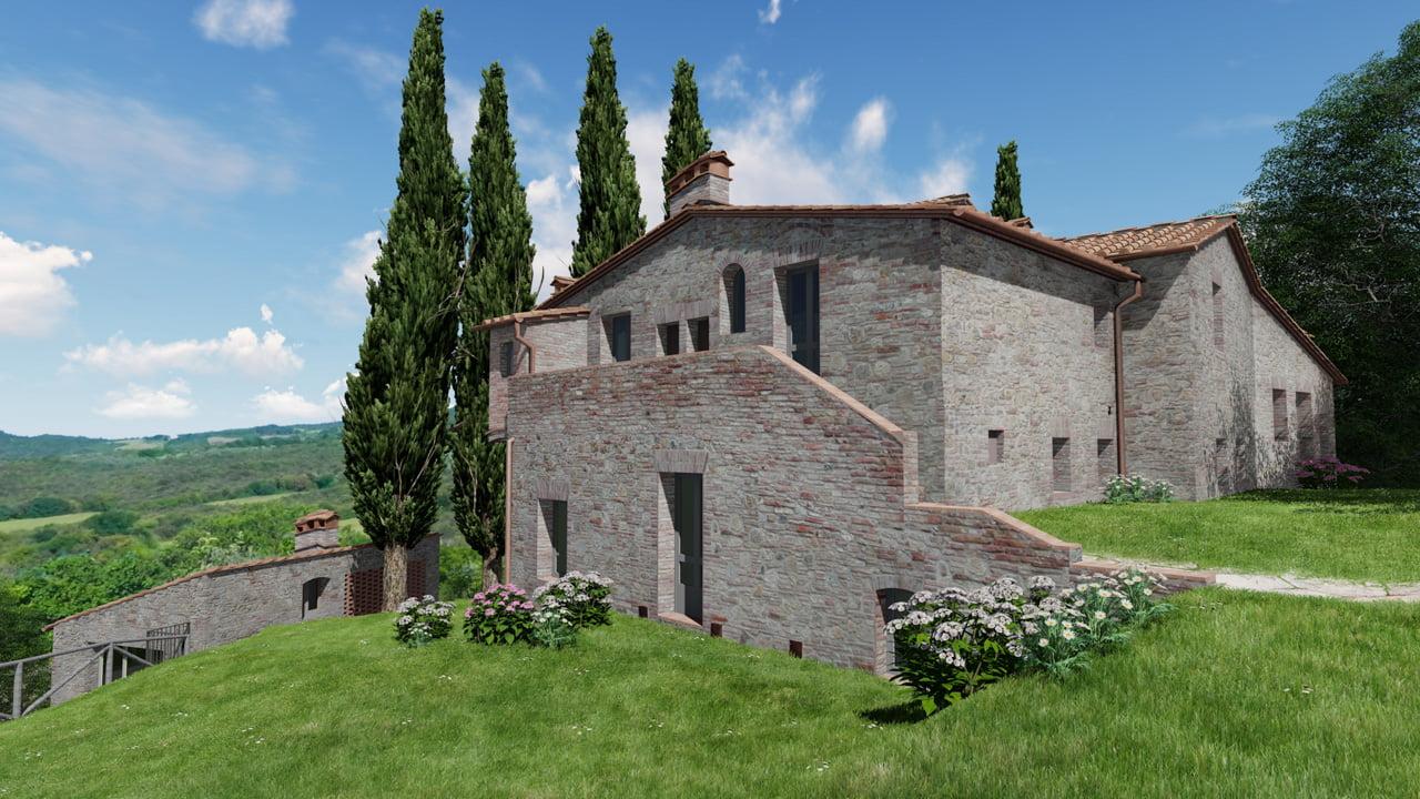 Rendering esterni casale con piscina in Toscana